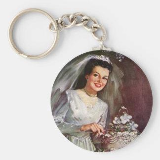 Vintage Newlywed Bride Cutting Her Wedding Cake Keychain
