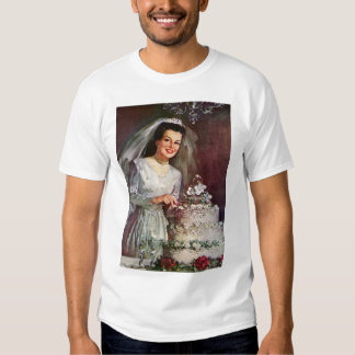 Vintage Newlywed Bride Cutting Her Wedding Cake T-Shirt