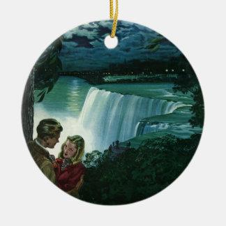 Vintage Newlyweds at Niagara Falls Christmas Ornaments