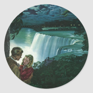 Vintage Newlyweds at Niagara Falls Round Stickers