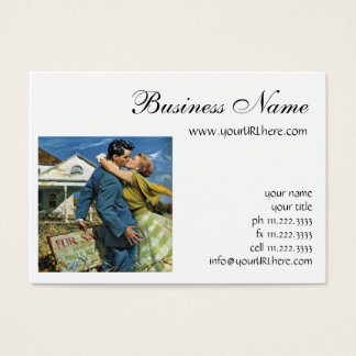 Vintage Newlyweds Buy First House, We're Moving! Business Card