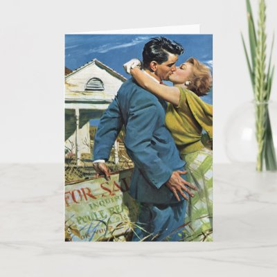 Vintage Newlyweds Buy First House; We're Moving! Greeting Card