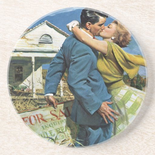 Vintage Newlyweds Buy First House; We're Moving! Coasters