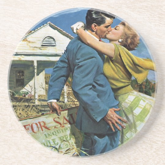 Vintage Newlyweds Buy First House, We're Moving! Drink Coaster
