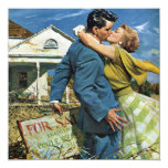 """Vintage Newlyweds Buy First House, We're Moving! 5.25"""" Square Invitation Card"""