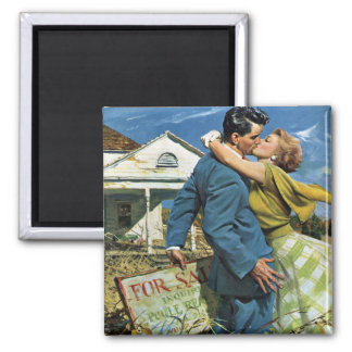 Vintage Newlyweds Buy First House; We're Moving! Magnets