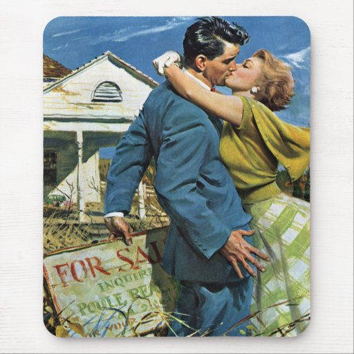 Vintage Newlyweds Buy First House, We're Moving! Mouse Pad