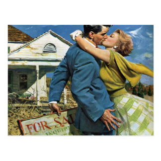 Vintage Newlyweds Buy First House, We're Moving! Postcard