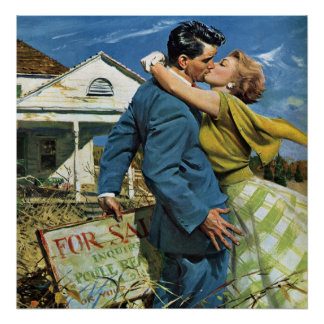 Vintage Newlyweds Buy First House, We're Moving! Poster