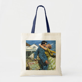 Vintage Newlyweds Buy First House, We're Moving! Tote Bag