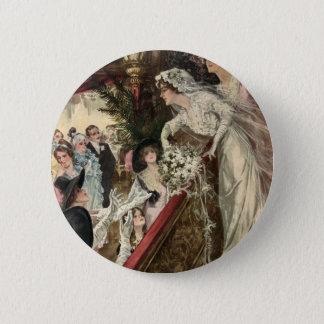 Vintage Newlyweds, Victorian Bride Tossing Bouquet Button