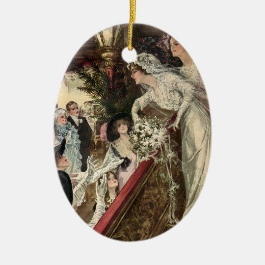 Vintage Newlyweds, Victorian Bride Tossing Bouquet Ceramic Ornament