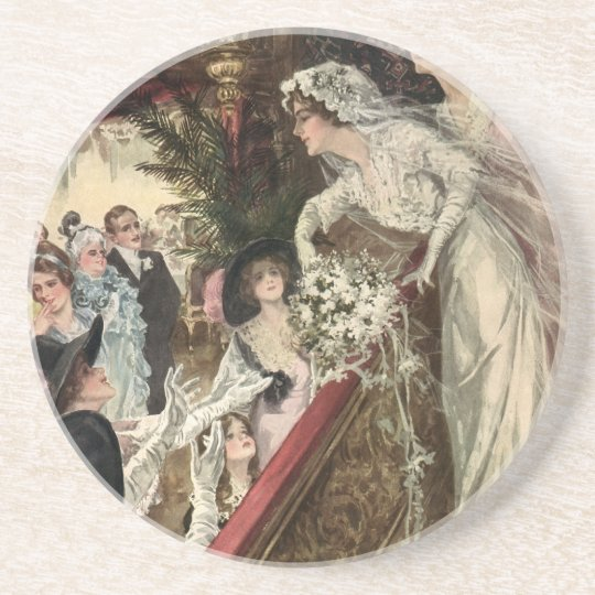 Vintage Newlyweds, Victorian Bride Tossing Bouquet Drink Coaster