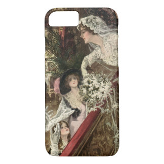 Vintage Newlyweds, Victorian Bride Tossing Bouquet iPhone 8/7 Case