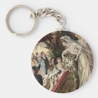 Vintage Newlyweds, Victorian Bride Tossing Bouquet Keychain
