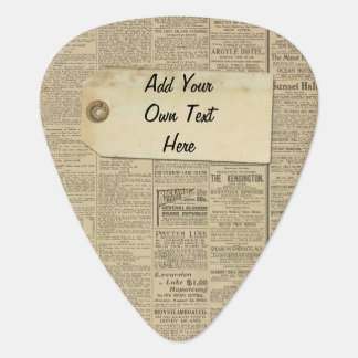 Vintage News Paper Label Personalized Guitar Pick