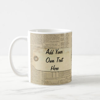 Vintage News Paper Label Personalized Mugs