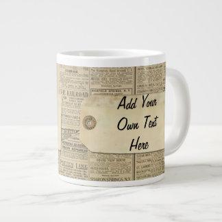 Vintage News Paper Label Personalized Jumbo Mugs