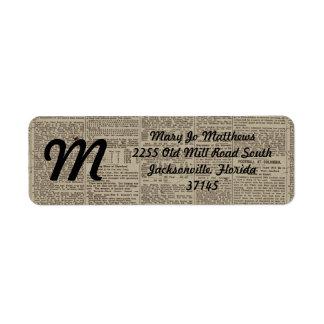 Vintage Newspaper 1902 Return Address Label