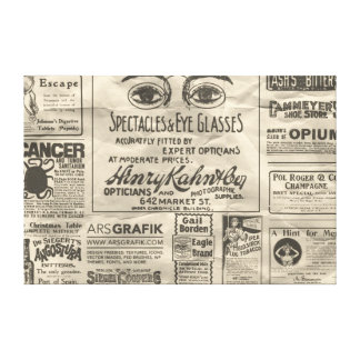 Vintage Newspaper Ads Canvas - RESIZABLE