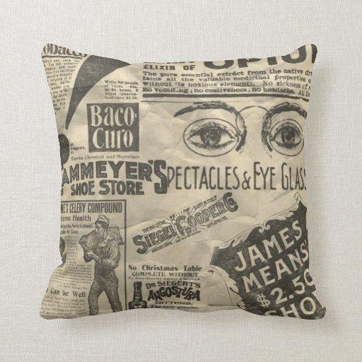 Vintage Newspaper Ads Throw Pillow