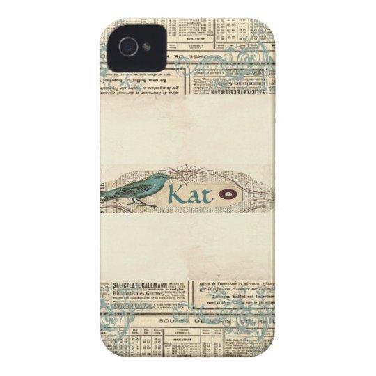 Vintage Newspaper Bird Blackberry Bold 9700/9780 iPhone 4 Case-Mate Case