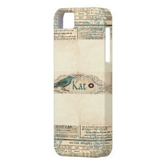 Vintage Newspaper Bird iPhone 5 Case