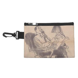 Vintage Newspaper Dad Clip On Accessory Bag