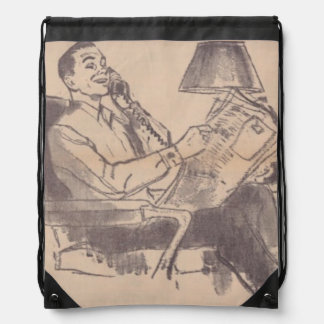 Vintage Newspaper Dad Drawstring Backpack