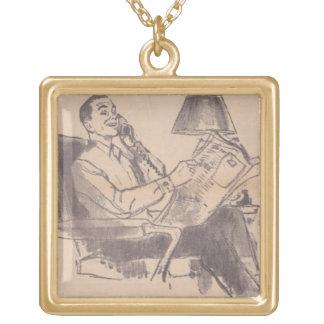 Vintage Newspaper Dad Necklace