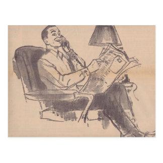 Vintage Newspaper Dad Postcard