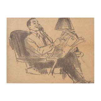 Vintage Newspaper Dad Wood Canvas