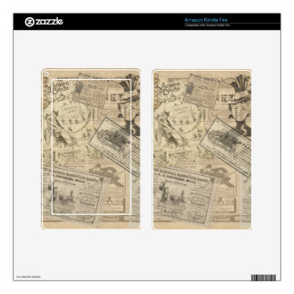 Vintage newspaper decal for kindle fire