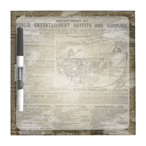 Vintage Newspaper Dry-Erase Whiteboard