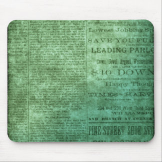 Vintage newspaper (green) mouse pad