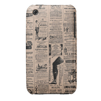 Vintage Newspaper Pattern Customizable Color Case-Mate iPhone 3 Cases