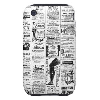 Vintage Newspaper Pattern Customizable Color iPhone 3 Tough Covers
