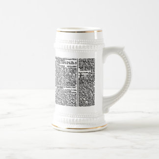 Vintage Newspaper Print Beer Stein