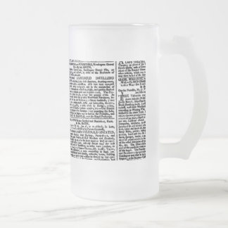 Vintage Newspaper Print Frosted Glass Beer Mug