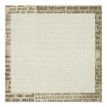"Vintage Newspaper Print 5.25"" Square Invitation Card"