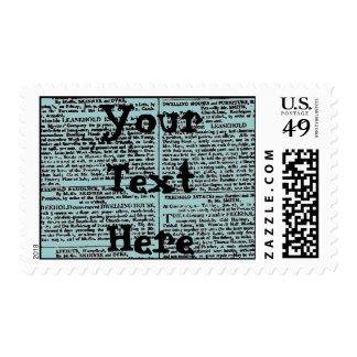 Vintage Newspaper Print Postage Stamps