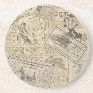Vintage newspaper sandstone coaster