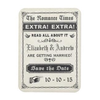 Vintage Newspaper Save the Date Magnet