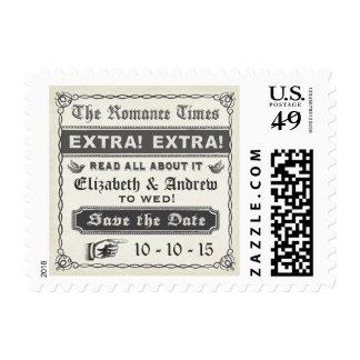Vintage Newspaper Save the Date Postage Stamp