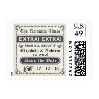 Vintage Newspaper Save the Date Postage Stamp