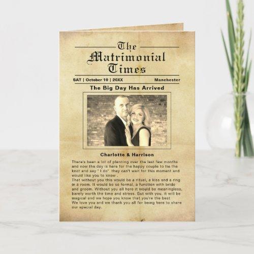 Vintage Newspaper Style Wedding Program