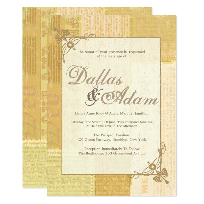 Vintage Newspaper, Wedding Invitations