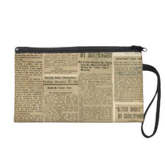 Vintage Newsprint Wristlet