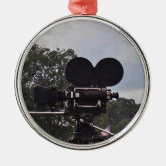 Vintage Newsreel Camera Metal Ornament
