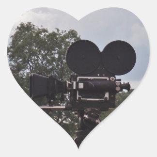 Vintage Newsreel Camera Heart Sticker